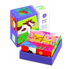 Mini Houten Blokken Puzzel Meuh en Co