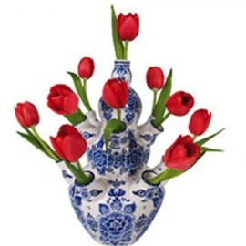 Raamstickers Delfts blauwe vaas met rode tulpen