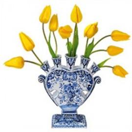 Raamstickers Delfts blauwe vaas met gele tulpen
