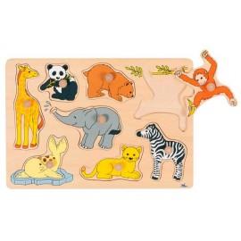 Houten Puzzel Baby Dieren uit de Dierentuin - Goki