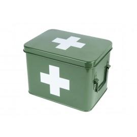 Medicijnkist/Verbandtrommel  Groen met wit kruis