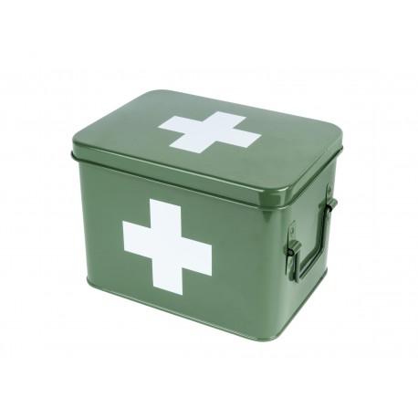 Medicijnkist/Verbandtrommel Groen met wit kruis medium