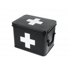 Medicijnkist/Verbandtrommel Zwart met wit kruis