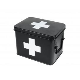 Medicijnkist/Verbandtrommel Zwart met wit kruis medium