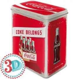Retro Blik L 3D Coca-Cola Logo Rood
