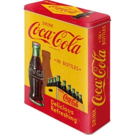 Retro Blik XL Coca Cola In Bottles Geel