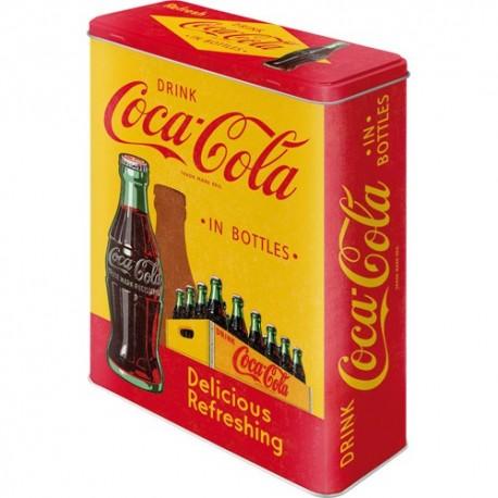Retro Blik XL Coca Cola In Bottles Geel