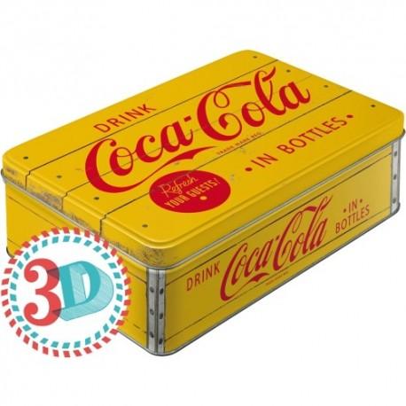 Retro Blik 3D Coca-Cola Logo Geel
