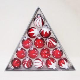 Set van 15 Retro Kerstballen rood-Wit