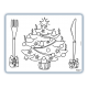 Inkleur Placemats Kerstboom-bestek