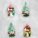 Set van 4 Kerstballen Huisje-Kerstboom