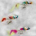 Set van 3 Kerstballen Papegaai op clip