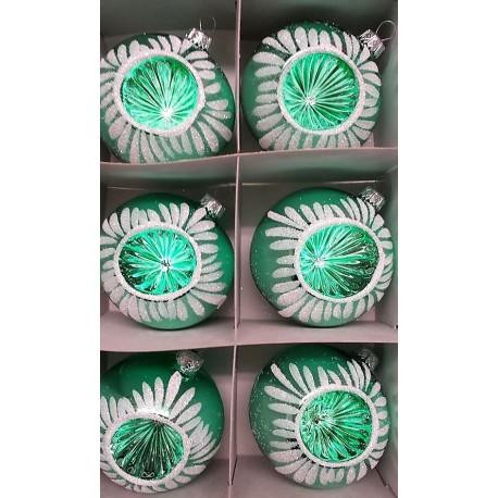 Set van 6 Retro Kerstballen Ø 8cm Groen
