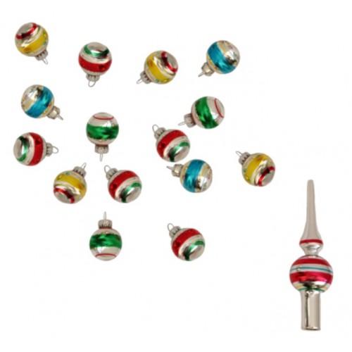 Wonderbaar Mini Set van 15 Retro Kerstballen Gestreept Met Piek TR-47