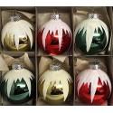 Set van 6 Retro Kerstballen Ø 6cm met sneeuw