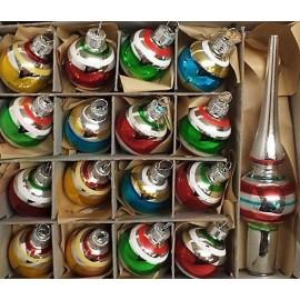 Set van 15 Retro Kerstballen Gestreept Met Piek