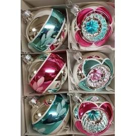 Set van 6 Retro Kerstballen Ø 6cm Mint-Roze