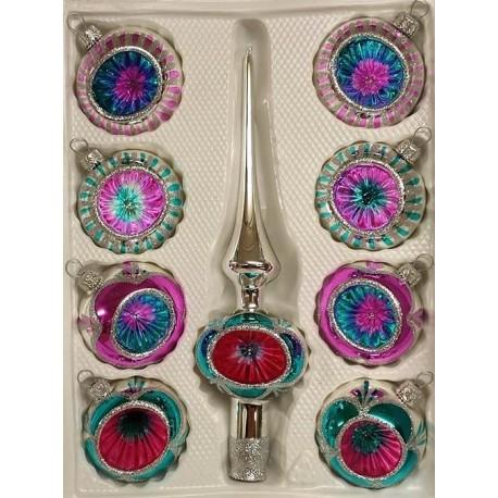 Set van 8 Retro Kerstballen Ø 6cm Aqua-Zilver-Roze met Piek