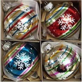 Set van 4 Retro Kerstballen Ø 6cm streep met sneeuwvlok