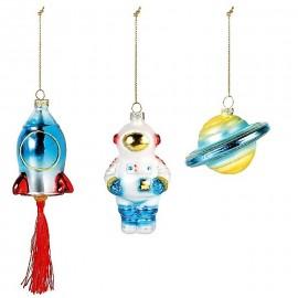 Set van 3 Ruimtevaart Kerstballen
