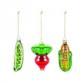 Set van 3 Groente Kerstballen