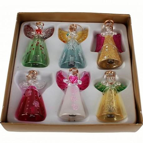 Set van 6 Glazen Led Engeltjes