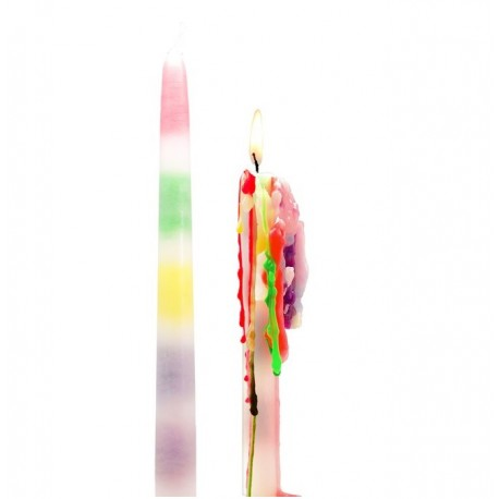 Set van 2 Regenboog Druipkaars