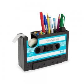 Retro Cassettebandje Bureau organiser blauw