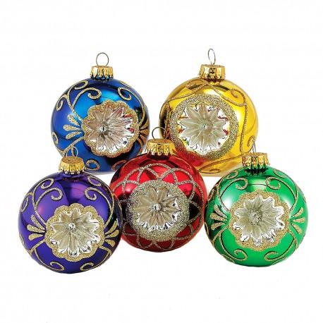 Set van 5 Reflector Kerstballen Multicolor