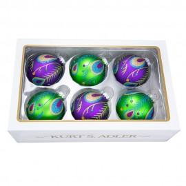 Set van 6 Glazen Pauw Kerstballen Paars Groen