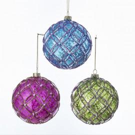 Set van 3 Glazen Kerstballen met Parel Accenten