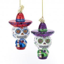 Set van 2 Sugar Skulls Kerstballen  El Dia De Los Muertos