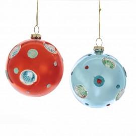 Set van 2 Retro Refelctor Kerstballen Ø 8 CM