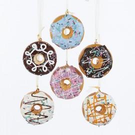 Set van 6 Donuts Kerstballen 7 CM