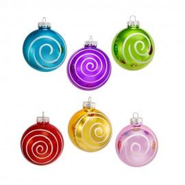Set van 6 Glazen Spiraal Kerstballen Ø 8 CM