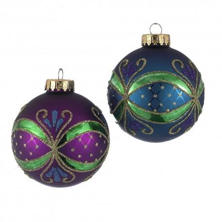 Set van 4  Glazen Kerstballen Pauw Ø 6,5 CM