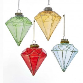 Set van 4 Glazen Kertboomhangers Diamant