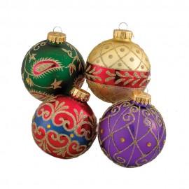 Set van 4 Glazen Kerstballen Imperial Ø 6,5 CM
