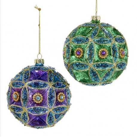 Set van 2 Glazen Kerstballen Pauw Juweel Ø 10 CM