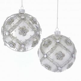 Set van 2 Glazen Kerstballen Zilver Glitter Ø 10 CM