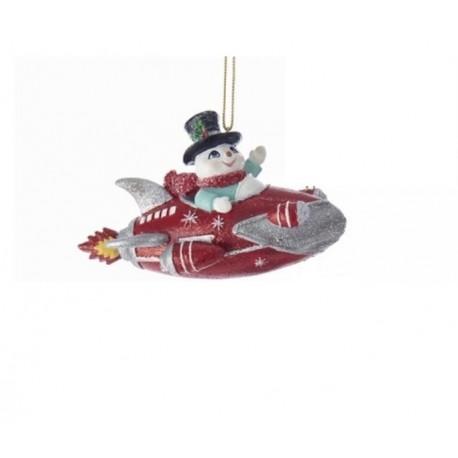 Kerstboomhanger Sneeuwman in Raket