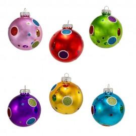Set van 6 Glazen Kerstballen Polka Dots Ø 8CM