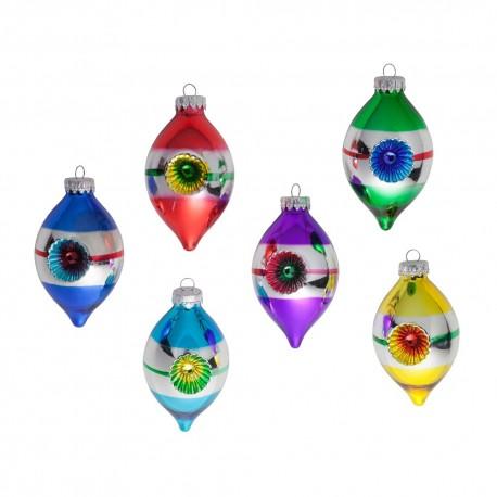 Set van 6 Retro Kerstballen Ø 4,5cm Citroentjes