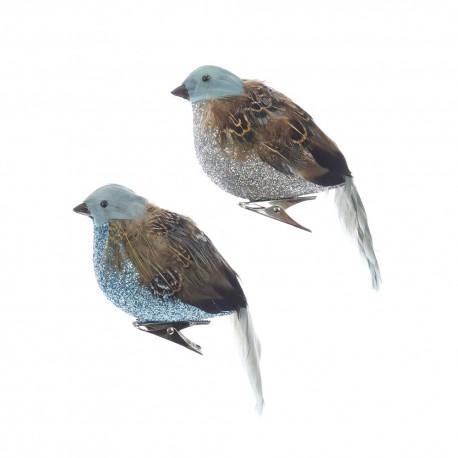 Set van 2 Chikadee Vogels op Clip