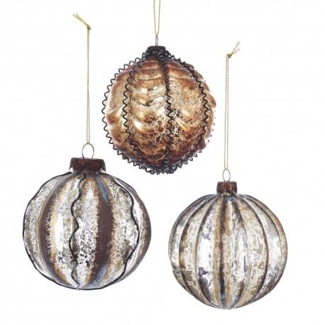 Set van 3 Glazen Kerstballen Aarde Tinten Ø 8 CM