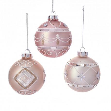 Set van 3 Retro Kerstballen Roze Ø 8 CM