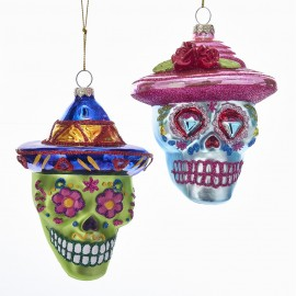 Glazen Kerstbal Skull Day of the Dead