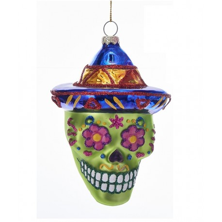 Glazen Kerstbal Skull Day of the Dead