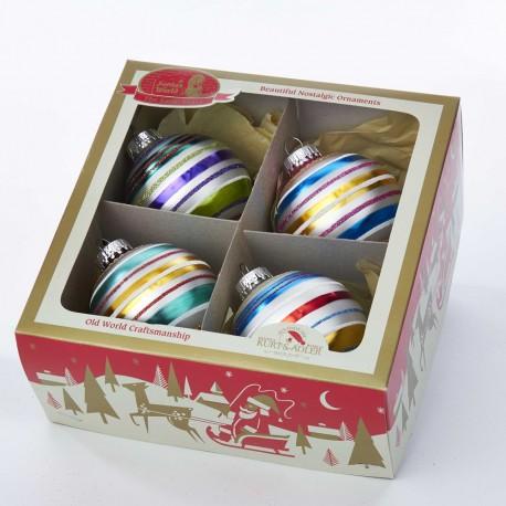 Set van 4 Retro Kerstballen Multicolor Streep Ø 6,5 CM