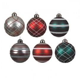 Set van 6 Glazen Patroon Kerstballen Ø 8 CM